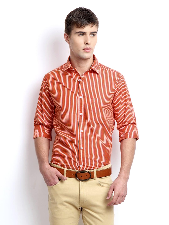 Orange Striped Shirt Mens Men Orange White Striped