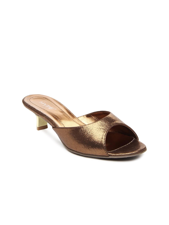 Hype Women Bronze Toned Heels (brown)