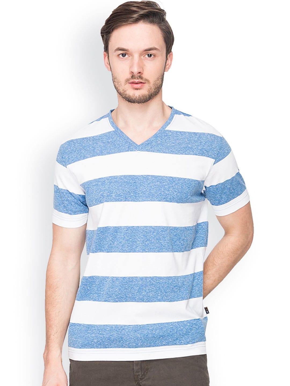 Buy identiti men blue white striped t shirt 2 for Blue white striped t shirt mens