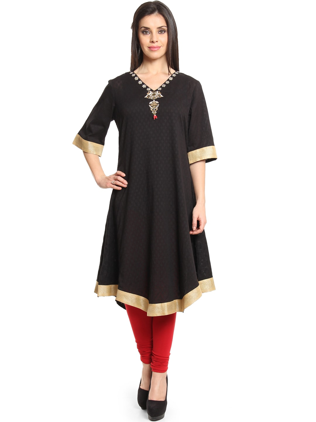 Shraddha Kapoor for IMARA Women Black Jacquard Anarkali Kurta