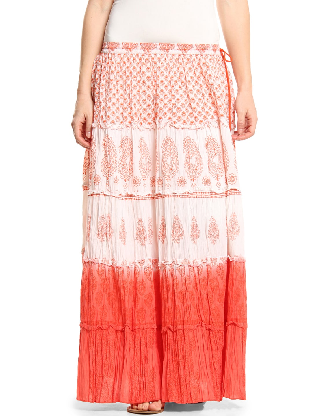 Shraddha Kapoor for IMARA White & Orange Printed Maxi Skirt