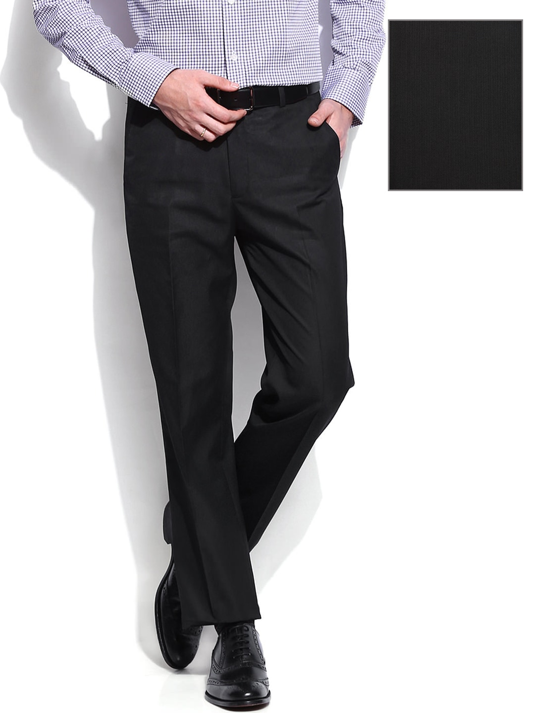 c77c7e349507 Buy INVICTUS Men Black Tailored Fit Formal Trousers 1283419 for ...
