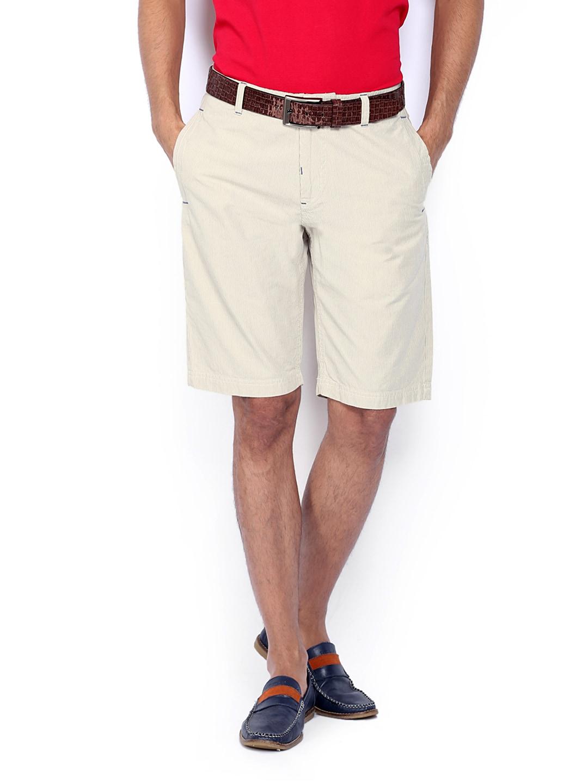 IZOD Men Beige Striped Shorts