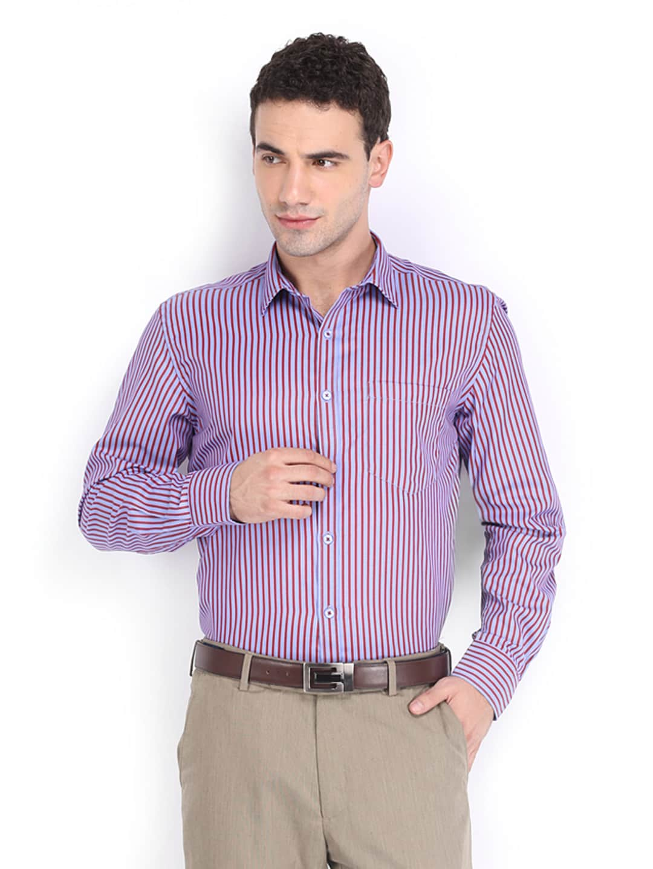 Independence Men Blue & Red Striped Slim Fit Formal Shirt (multicolor)