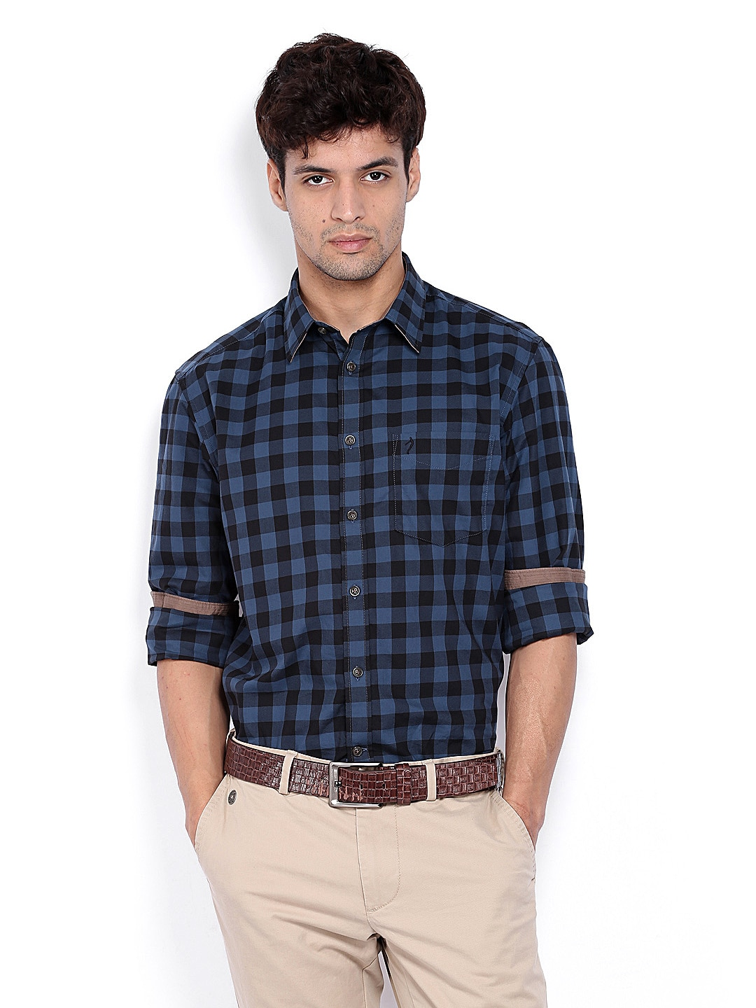 Buy Indian Terrain Men Blue & Black Checked Slim Fit ...