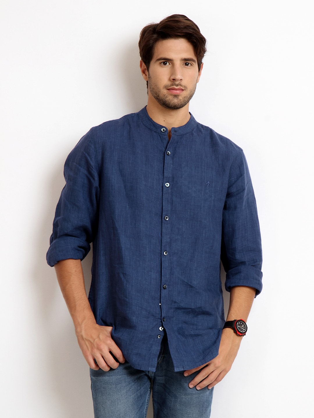 Buy Indian Terrain Men Blue Slim Fit Linen Casual Shirt ...