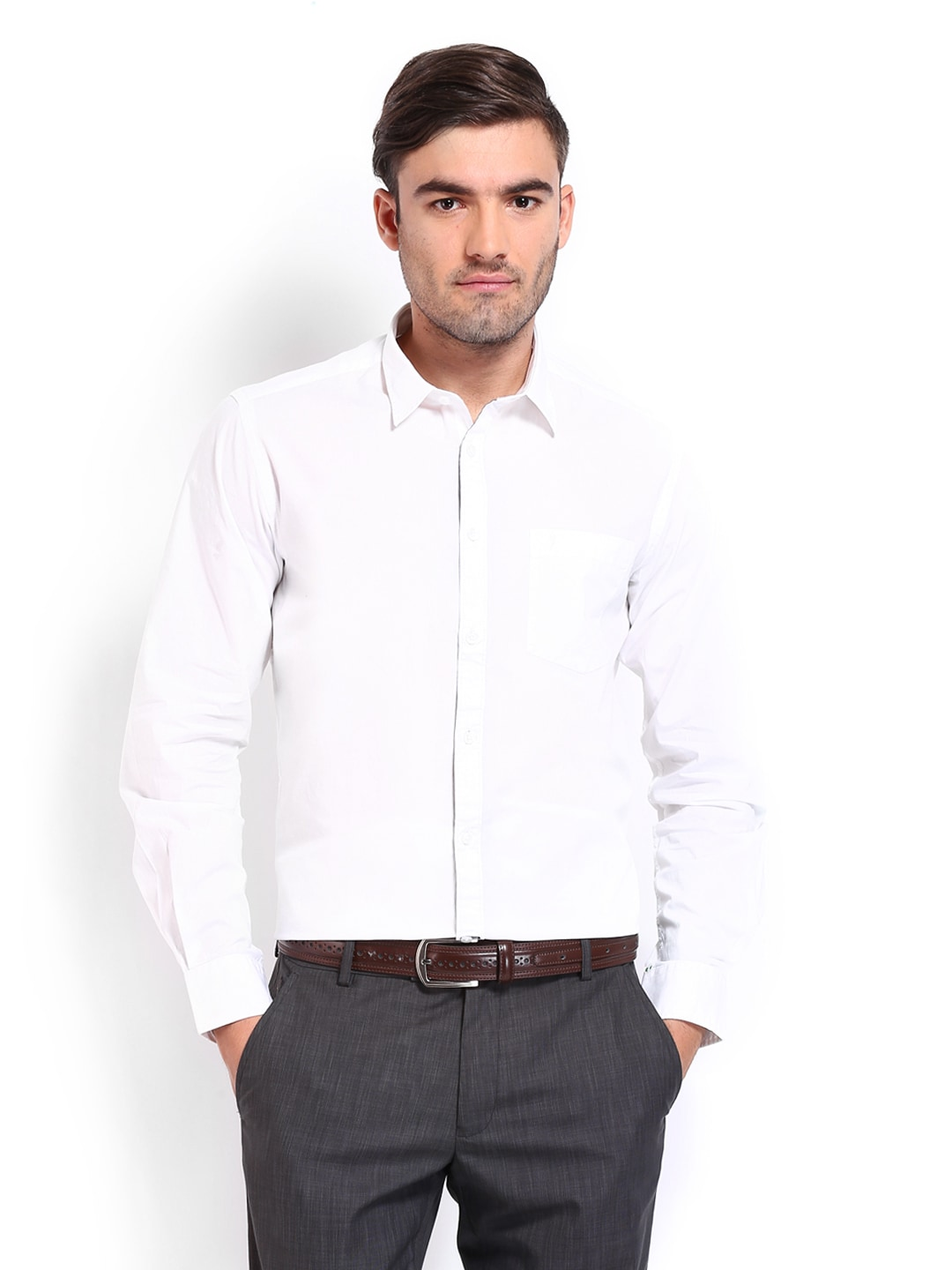 36d03343c4f2 Buy Indian Terrain Men White Slim Fit Formal Shirt 8793644 for men ...