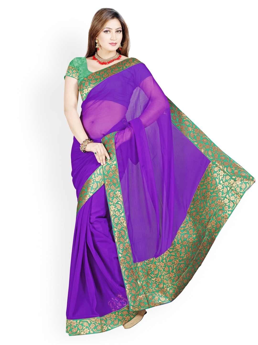 Ishin Purple Faux Chiffon Fashion Saree (multicolor)