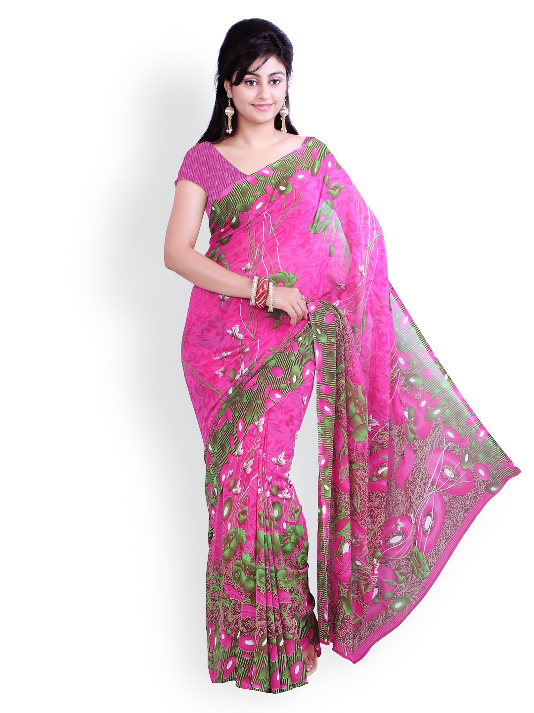 Buy Ishin Pink Printed Georgette Saree