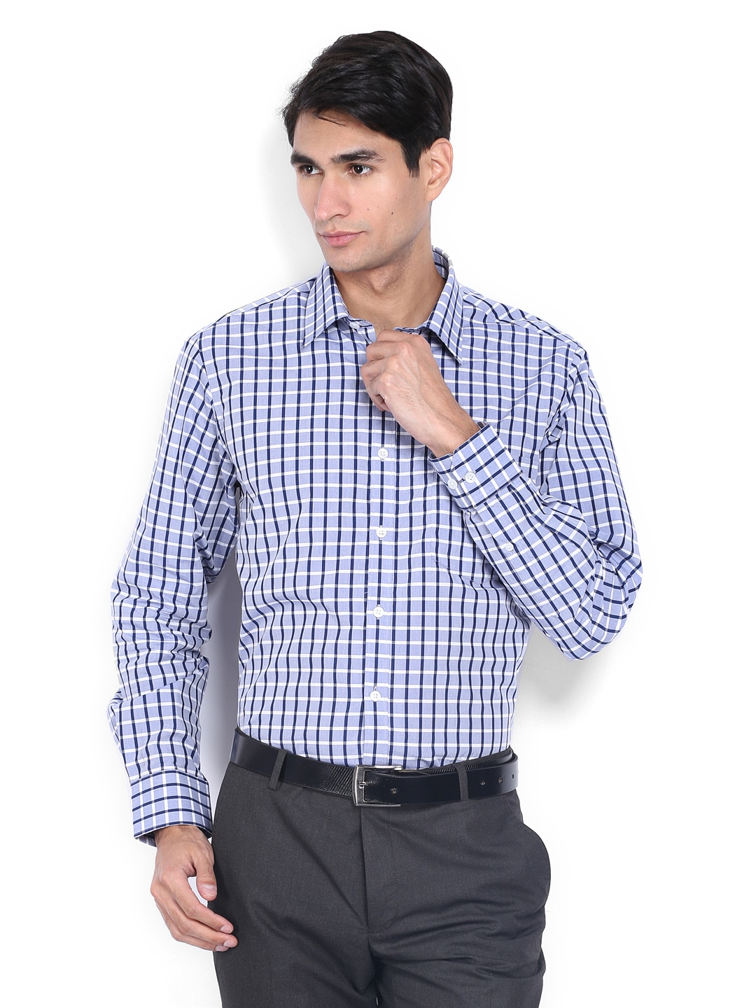 J-Hampstead J Hampstead Men Blue & White Checked Trim Fit Formal Shirt (Multicolor)