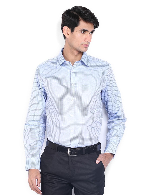 J-Hampstead J Hampstead Men Blue Checked Trim Fit Formal Shirt (Multicolor)