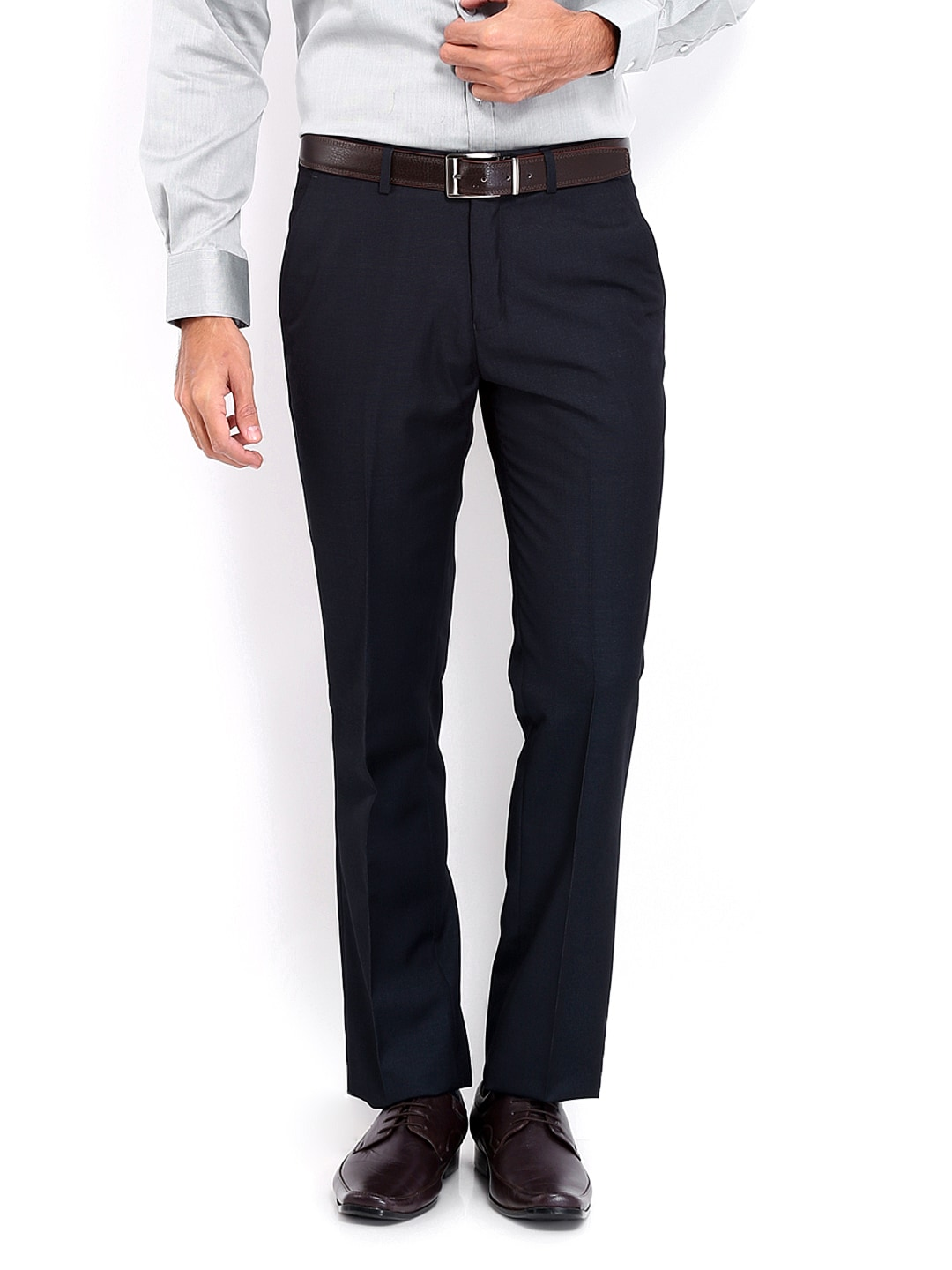 J-Hampstead J Hampstead Men Dark Blue Smart Fit Formal Trousers (Multicolor)