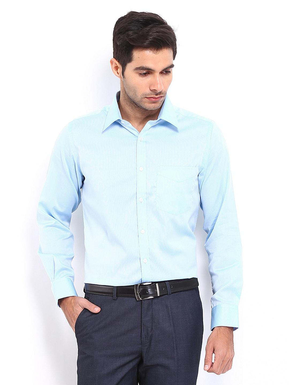 J-Hampstead J Hampstead Men Blue Trim Fit Formal Shirt (Multicolor)