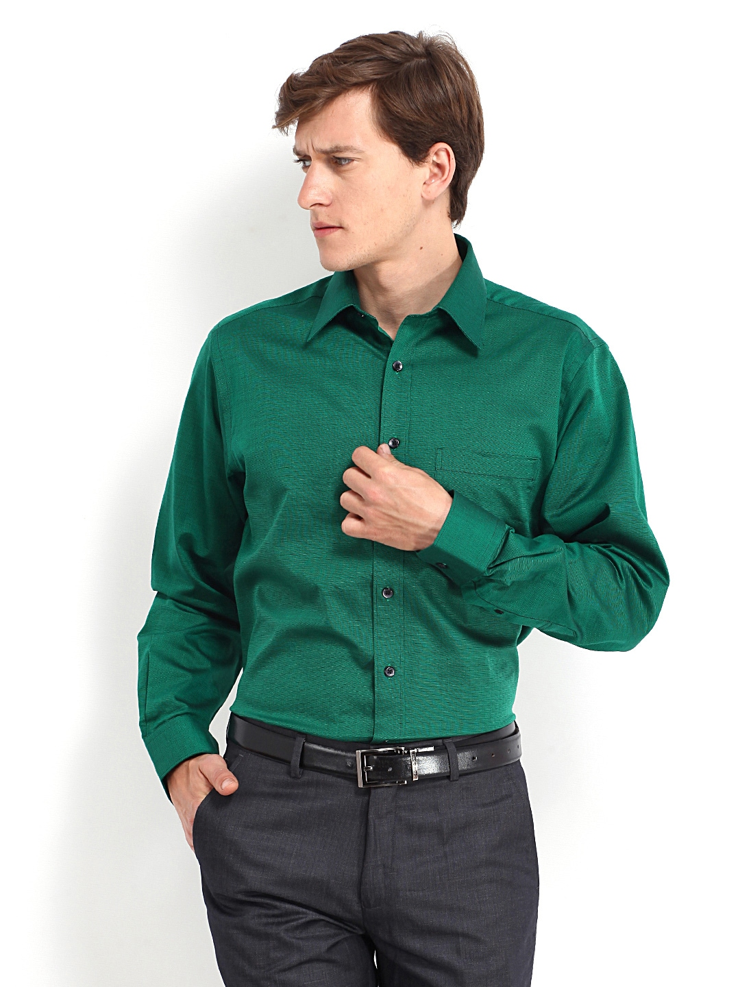 J-Hampstead J Hampstead Men Green Formal Shirt (Multicolor)