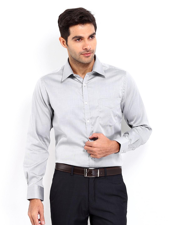 J-Hampstead J Hampstead Men Grey Trim Fit Formal Shirt (Multicolor)