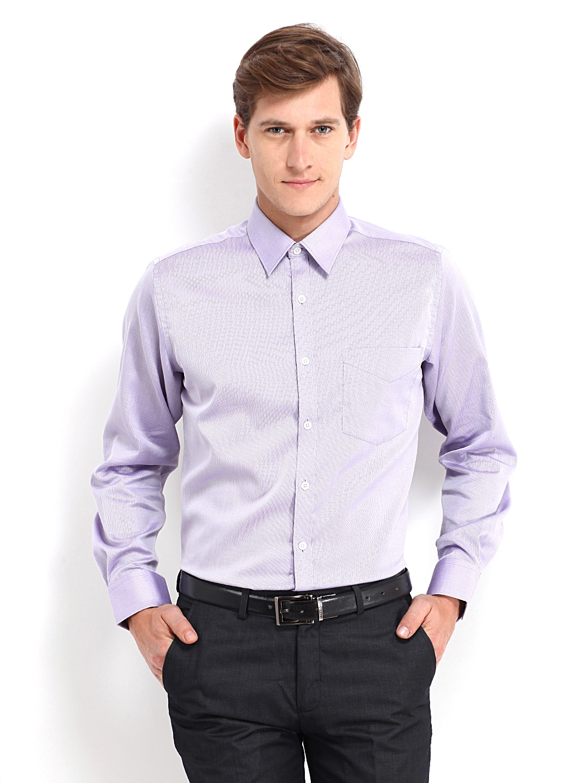 J-Hampstead J Hampstead Men Lavender-Coloured Trim Fit Formal Shirt (Multicolor)