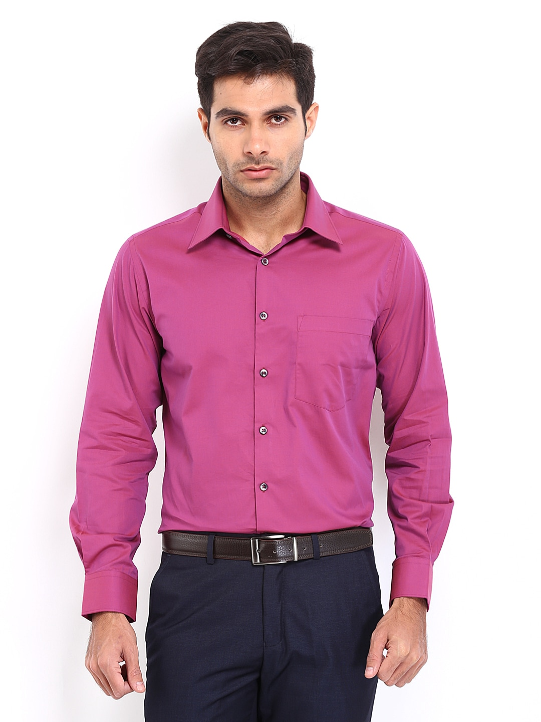 J-Hampstead J Hampstead Men Pink Trim Fit Formal Shirt (Multicolor)