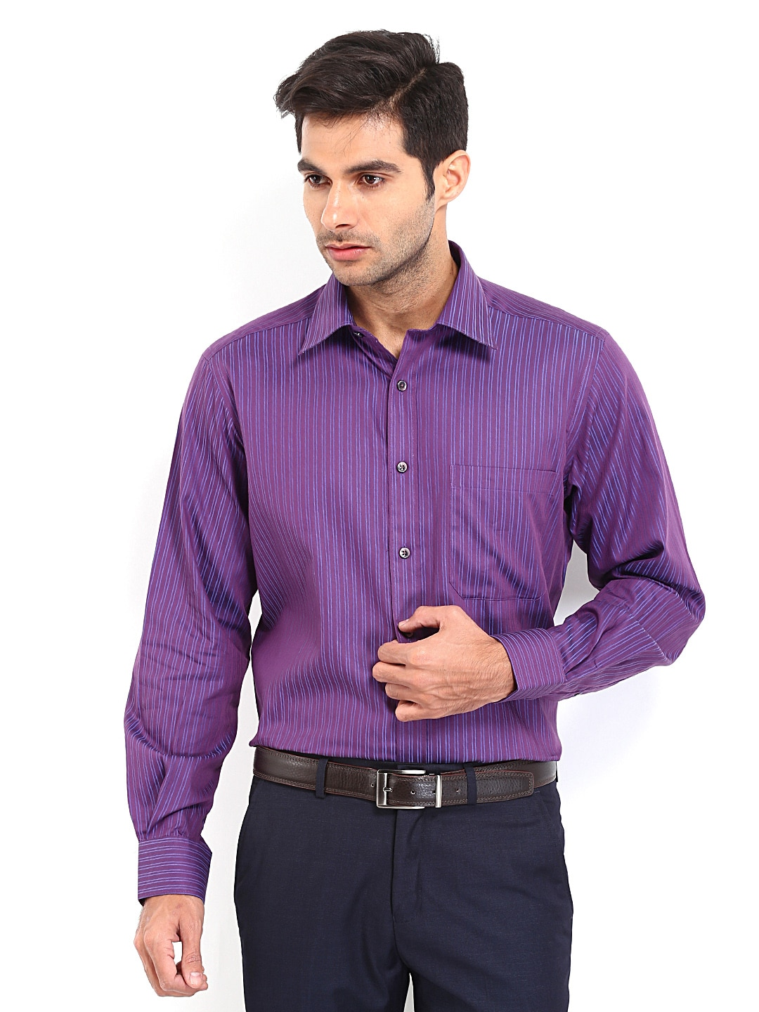 J-Hampstead J Hampstead Men Purple & Blue Striped Formal Shirt (Multicolor)