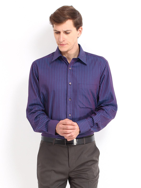 J-Hampstead J Hampstead Men Purple & Blue Striped Formal Shirt (Multicolor)