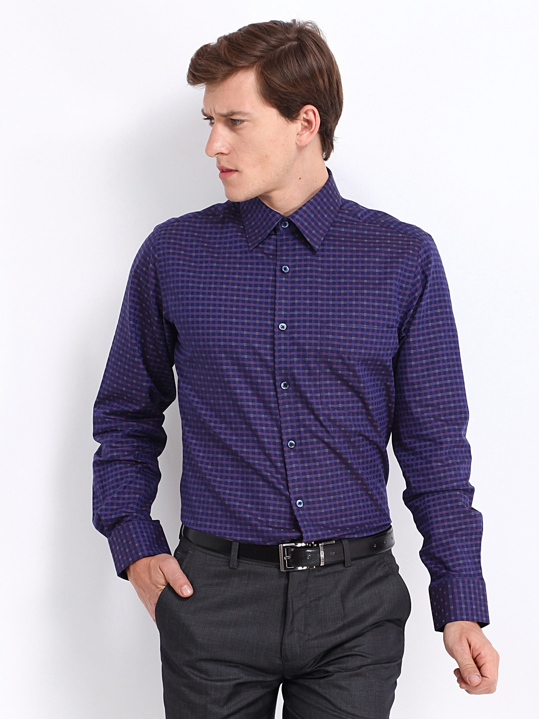 J-Hampstead J Hampstead Men Purple Checked Trim Fit Formal Shirt (Multicolor)