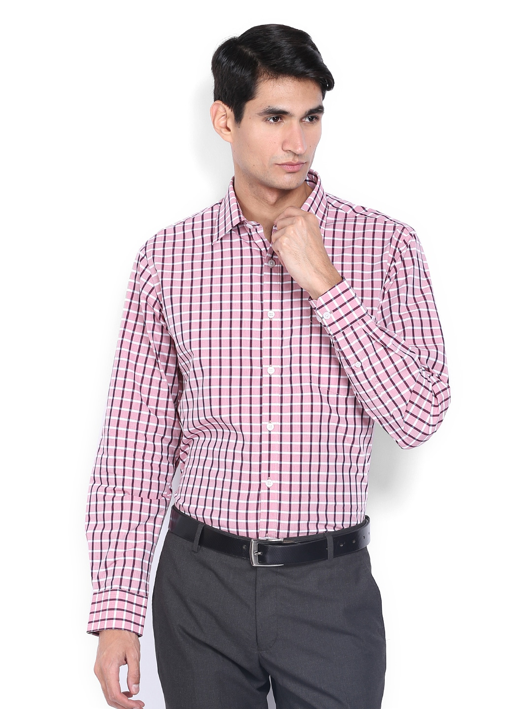 J-Hampstead J Hampstead Men Pink & Maroon Checked Trim Fit Formal Shirt (Multicolor)