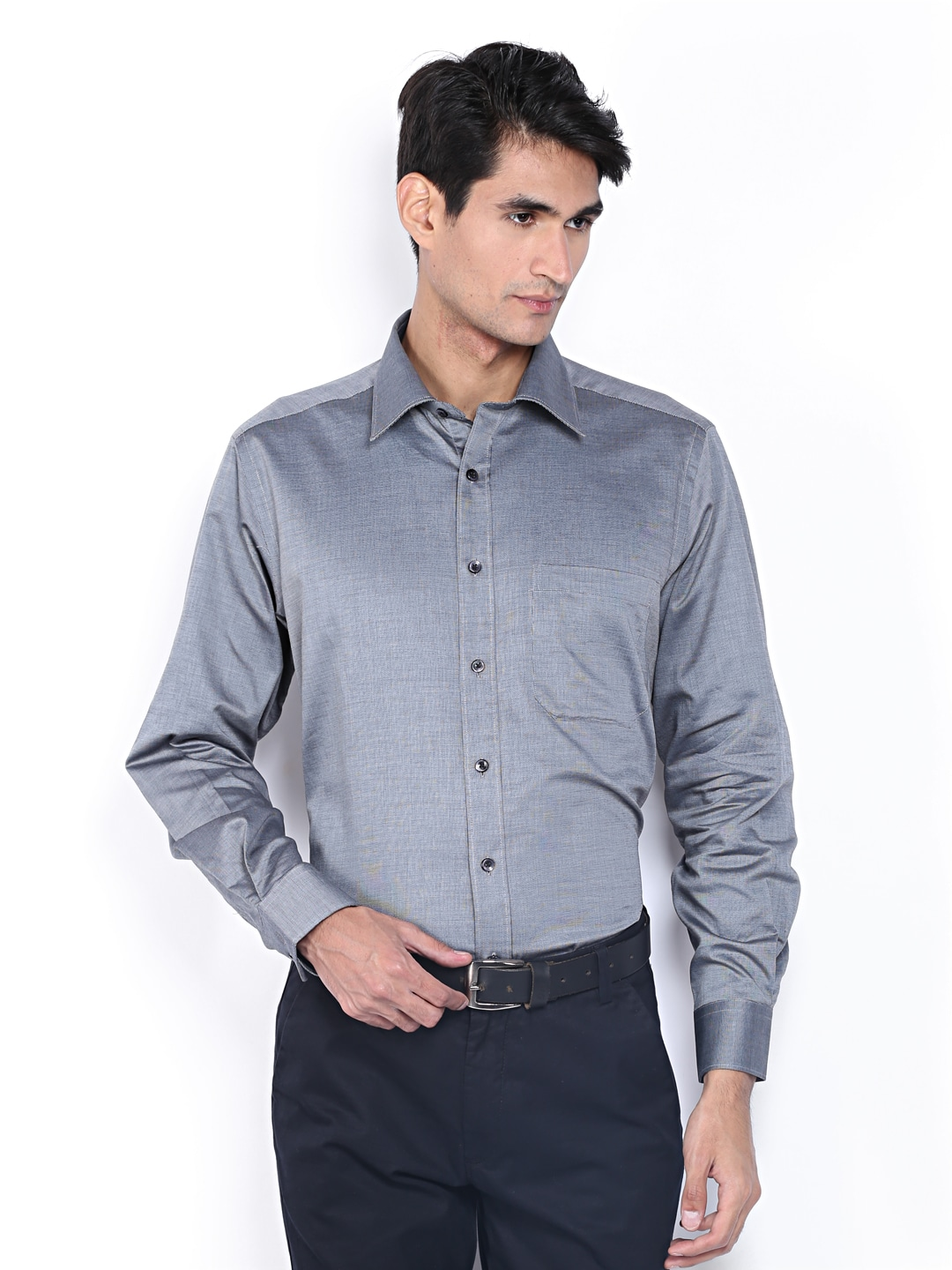 J-Hampstead J Hampstead Men Grey Slim Fit Formal Shirt (Multicolor)
