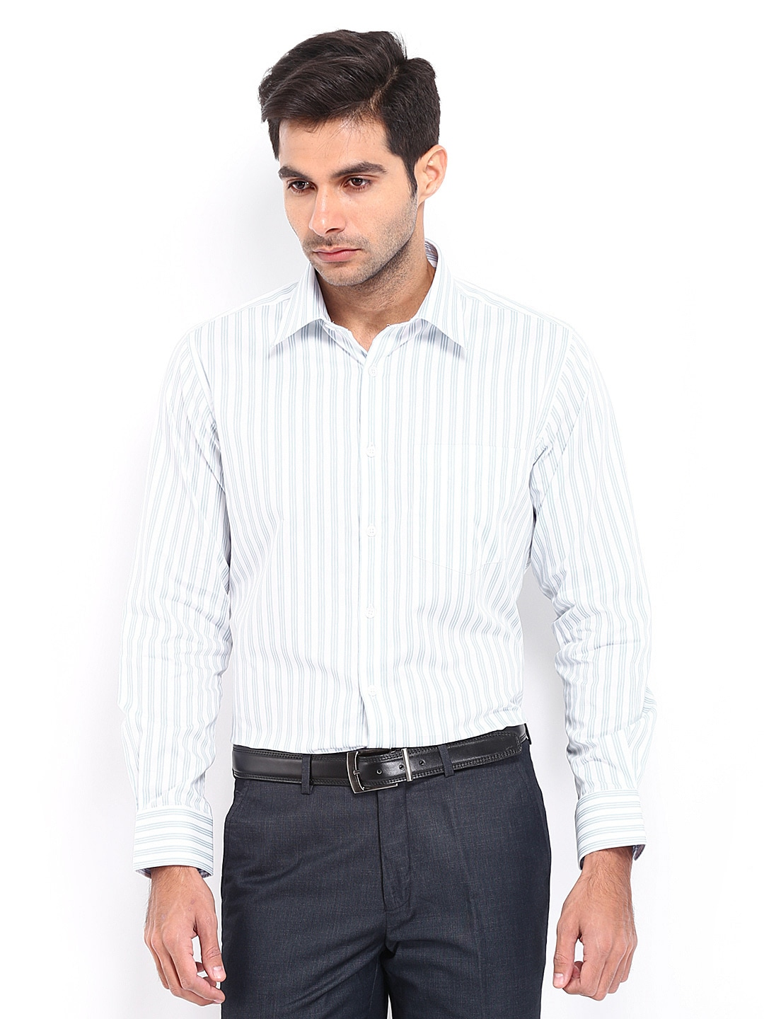 J-Hampstead J Hampstead Men White & Blue Striped Trim Fit Formal Shirt (Multicolor)