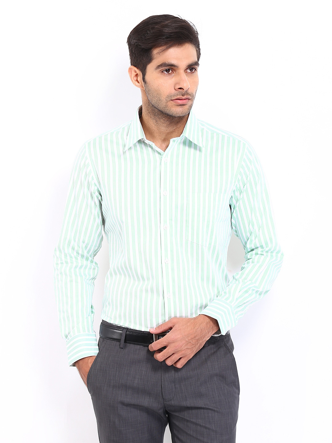 J-Hampstead J Hampstead Men White & Green Striped Trim Fit Formal Shirt (Multicolor)