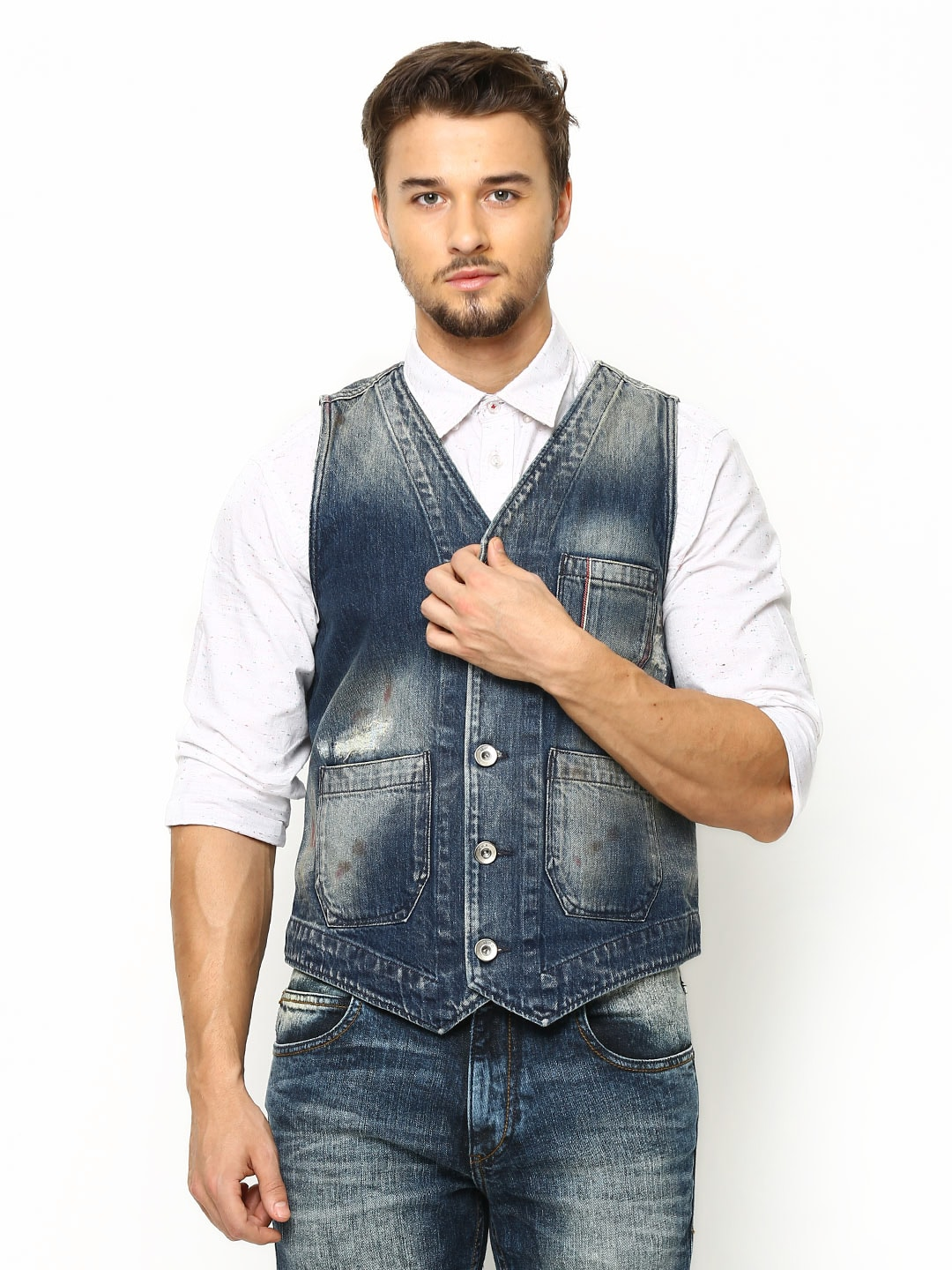 Jack & Jones Men Blue Denim Waistcoat