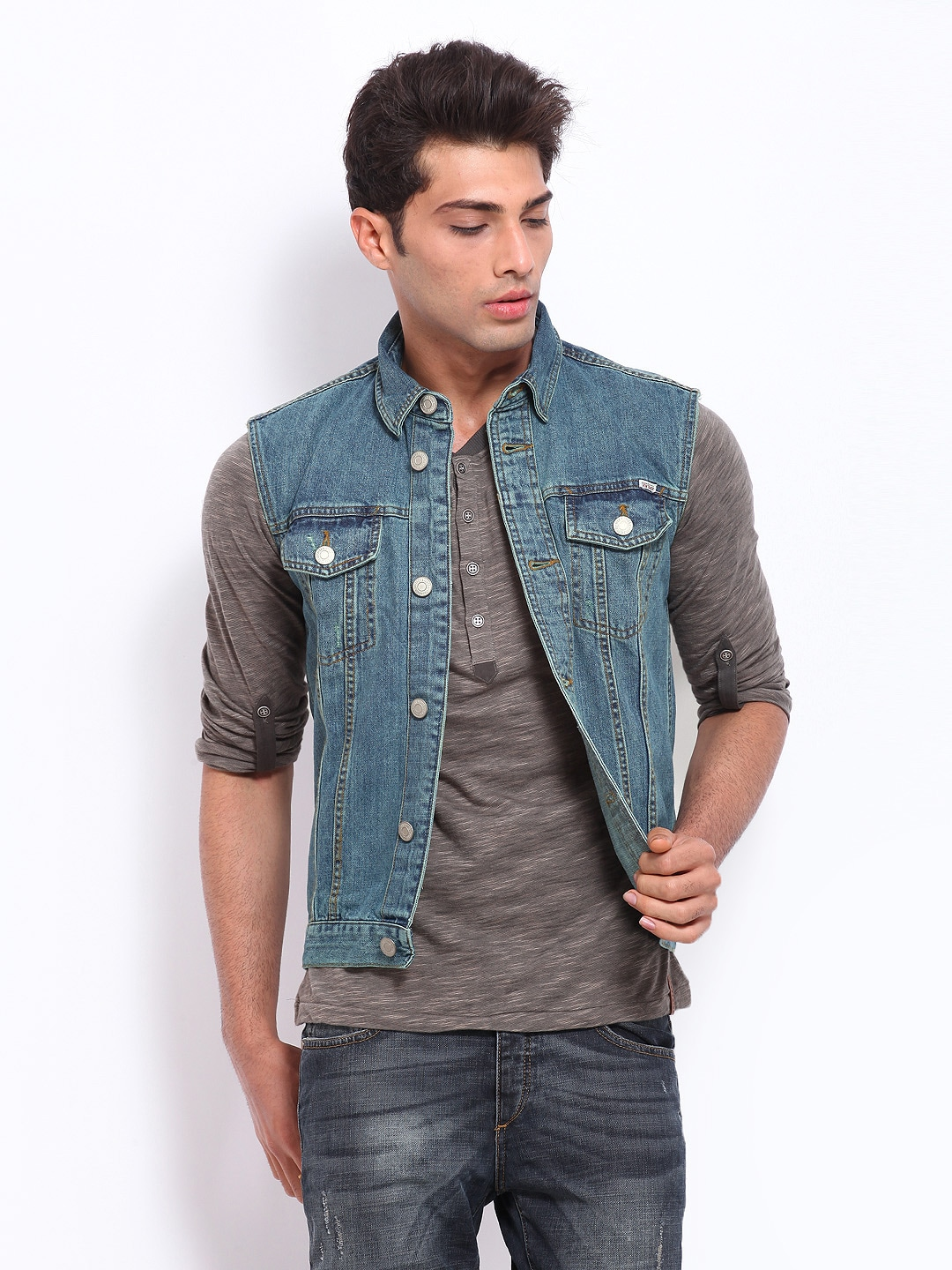 Buy Jack & Jones Men Blue Sleeveless Denim Jacket - Jackets for ...