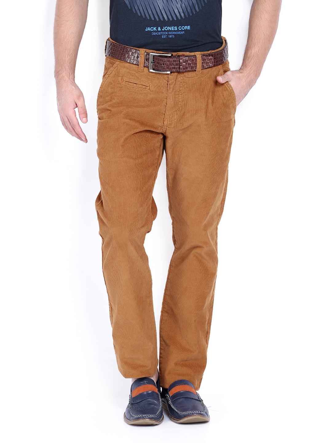 Jack & Jones Men Brown Corduroy Trousers