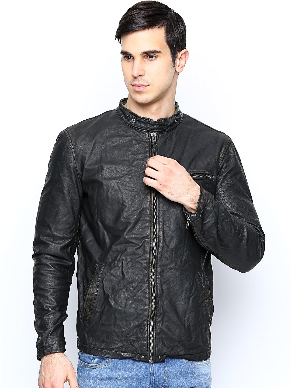 Leather jacket jack and jones - Jack Jones Men Black Leather Jacket Jackets For Myntra