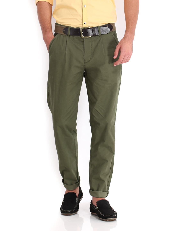 Jack & Jones Men Olive Green Chino Trousers