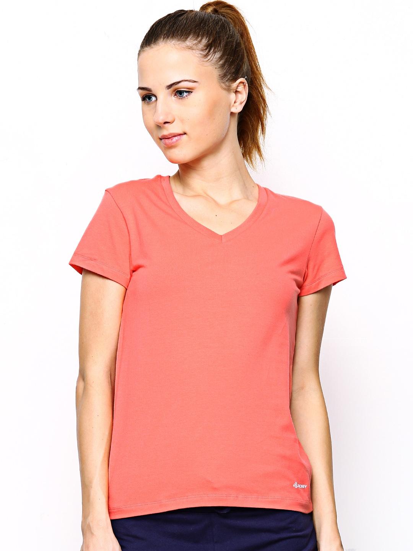 Jockey Women Peach-Coloured T-shirt