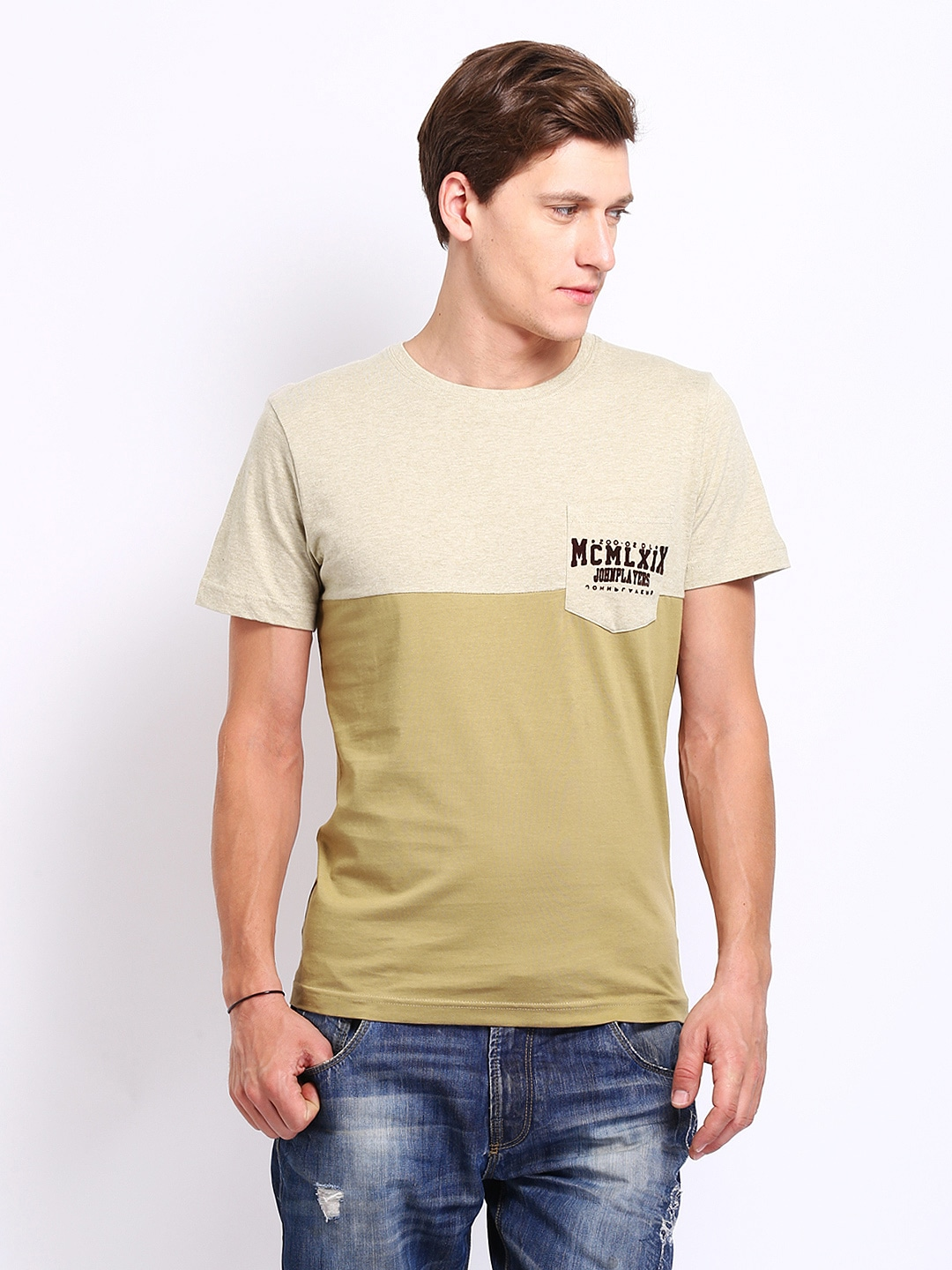 John Players Men Beige & Khaki Colour Blocked T-shirt