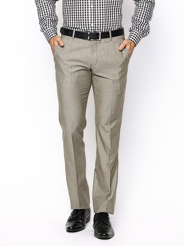 John Players Men Beige Slim Fit Linen Blend Formal Trousers