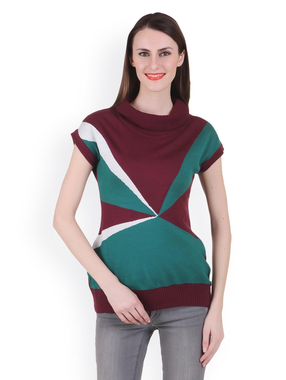 Juelle Juelle Women Burgundy & Green Sweater (Multicolor)