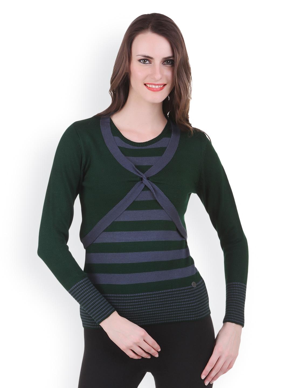 Juelle Juelle Women Green & Blue Striped Sweater (Multicolor)