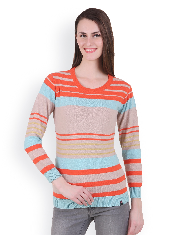 Juelle Juelle Women Orange & Taupe Sweater