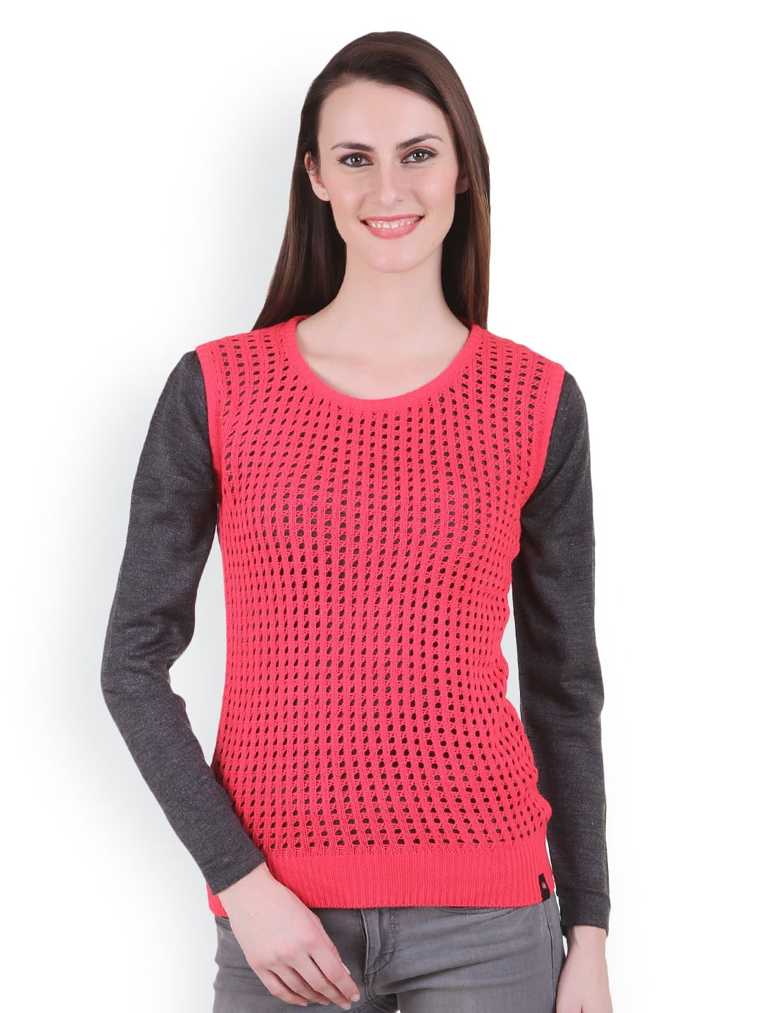 Juelle Juelle Women Coral Pink & Grey Sweater (Multicolor)