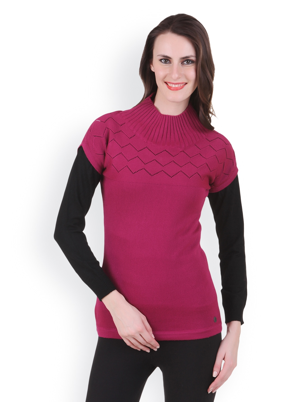 Juelle Juelle Women Dark Pink & Black Sweater (Multicolor)