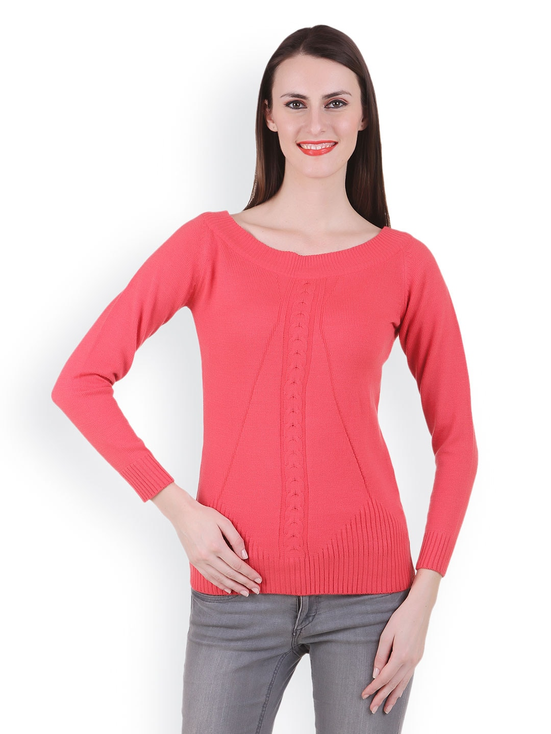 Juelle Juelle Women Coral Pink Sweater (Multicolor)