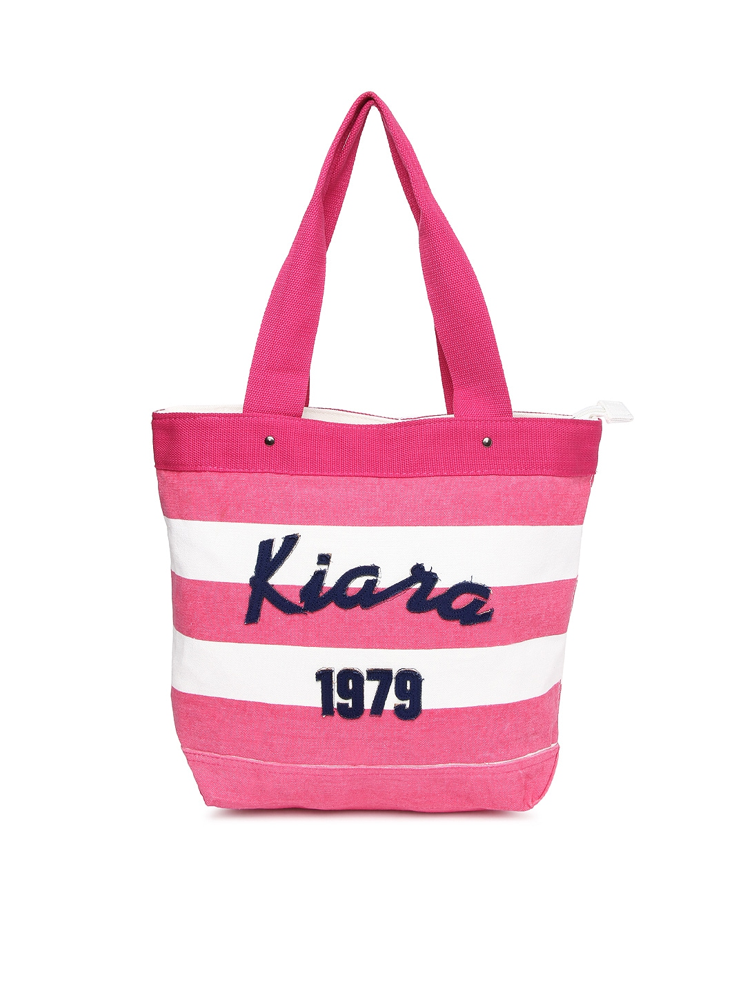 Kiara Women Pink & White Striped Tote Bag