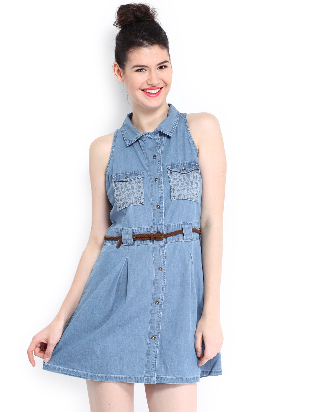 Buy Kook N Keech Disney Blue Denim Chambray Dress - Dresses for ...