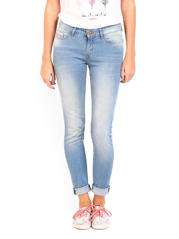 589ea19a8 Buy Kook N Keech Disney Women Blue Skinny Fit Jeans (beige  sand ...