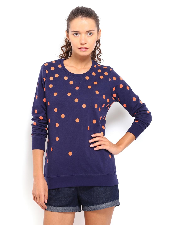 Style Tribe Womens Navy Blue Printed Long Sleeve Sweatshirt at Sears.com
