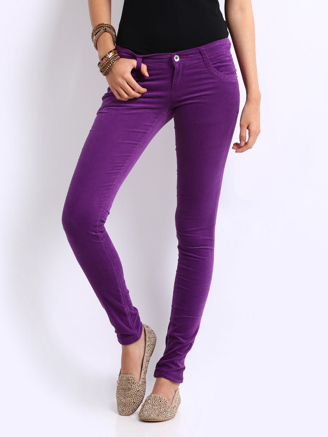 Buy Kraus Jeans Women Purple Jeggings (violet) 1448714 for women