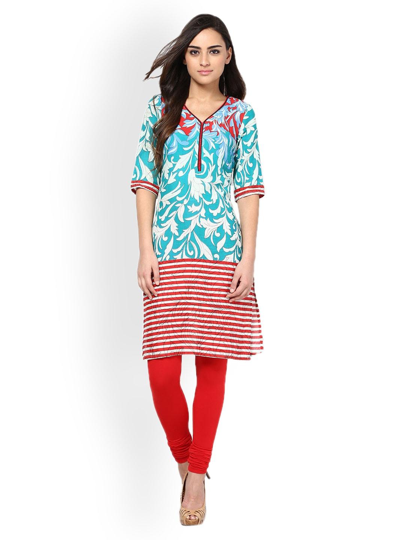 Kurtis Women Blue & Red Printed Kurta (multicolor)
