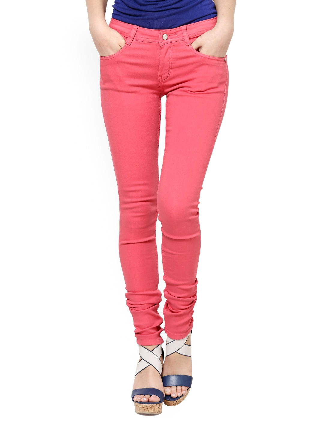 L ELEGANTAE Women Coral Red Jeans