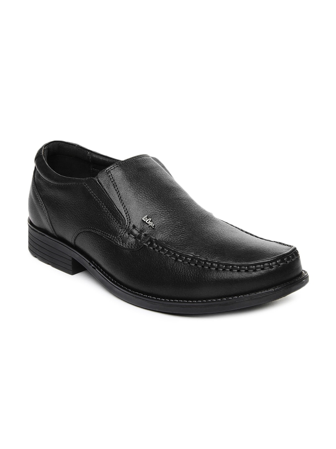 cooper black leather semi formal shoes